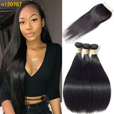 "3Bundles/300g Straight Peruvian Virgin Human Hair Weave With 4""*4"" Lace Closure"