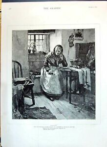 Old Antique Print 1890 Walter Langley Lady Alone Family Home Table Chair 19th