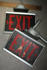 2pc TWO Sided Vintage Aluminum Metal Exit Light Signs Commercial