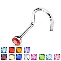 316L Surgical Steel Nose Screw Ring with CZ Gem 18g