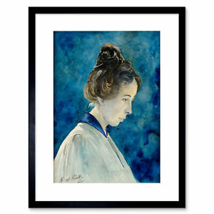Painting Blue Hilma Af Klint Self Portrait Framed Art Print Poster 12x16 Inch