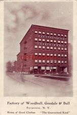 pre-1907 WOODHULL, GOODALE & BULL FACTORY SYRACUSE, NY Home of Good Clothes 1905