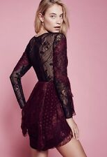 NWT Free People Special Edition black plum Mixed Lace Fit & Flare Dress 0