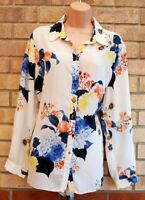 G21 CREAMY WHITE BLUE ORANGE FLORAL BUTTONED LONG SLEEVE T SHIRT TOP BLOUSE 18