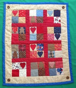 Handmade Baby Doll Quilt Blanket Patchwork Applique Bears & Hearts
