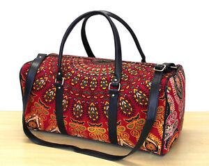 New Indian Red Duffle Sports Gym Bag Unisex Travel Bag Floral Mandala Handbags
