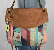 FOSSIL LONG LIVE Multicolor Brown Leather Shoulder Hobo Tote CrossBody Purse Bag