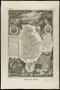 1852 - jura - landkarte Geografische Antik By Levasseur. Verwaltungsbezirk