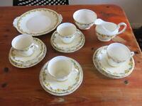 Antique Aynsley Bone China Tea Set 15 Pieces Trios Cake Plate Floral Design