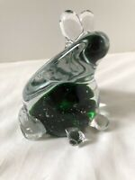 Glass Hand Blown Green Frog Designed in Murano Art Glass Paperweight
