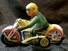Great Vintage Wind-Up Stunt Motorcycle Rider Tin Toy, Great Color, Made in China