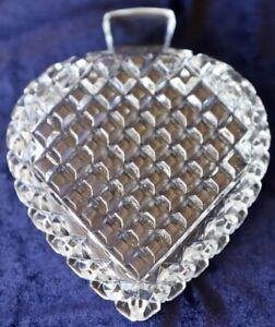 Vintage Diamond Cut Pressed Glass ?Crystal Trinket Bowl Spade Shape