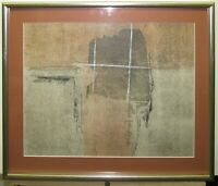 Polly Doyle 1980s Mixed Media Abstract Painting Listed Boston and Maine Artist