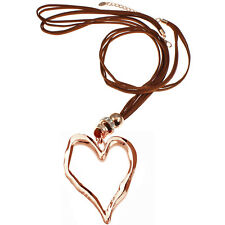 Lagenlook large rose gold heart pendant brown suede long fitting necklace