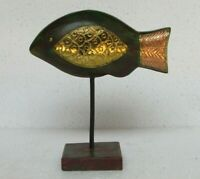 Wooden Handcrafted Brass Fitted Fish Home Decor