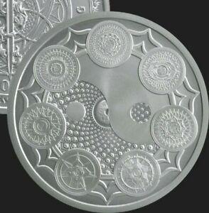 1 oz silver Cosmic Chakra Seven Chakras BU COA .999 Pure Yin Yang silver shield!