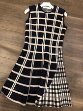 victoria beckham midnight navy checkered dress size 3