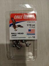 Eagle Claw 1/16 oz (1.8g) Unpainted Ball Head Fishing Jigs RED Hooks 10ct