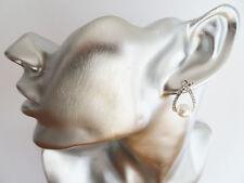 BELLISSIMO Wishbone Forma Diamante Dangle Orecchini Pendenti con finta Perla