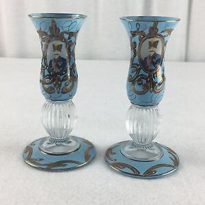 Bohemian Blue Stained Portrait Candle Holder With Gilt Relief Set Of 2