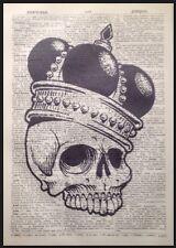 Calavera Decoración De Pared Vintage Diccionario Página Estampado Imagen crown