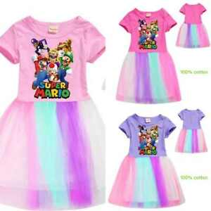 SUPER MARIO summer Girls Rainbow Tulle Dresses Rainbow dress Pleated Skirt UK