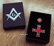 MASONIC KNIGHTS PIN BADGE SET ( x2 ) / CROSS OF CONSTANTINE & TEMPLAR + GIFT BOX