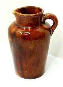 Vintage Yellow Ware Cream Pot, Pitcher Jug Vessel Brown Glaze Finish