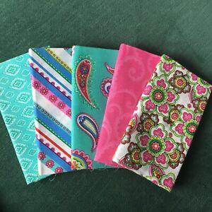 Punch Of Paisley Fabric Palette 5 x fat quarter bundle craft cotton fabric New