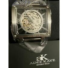 NEW Skeleton 53mm Adee Kaye Mens watch Masculum Collection G2 Silver Tone NWT