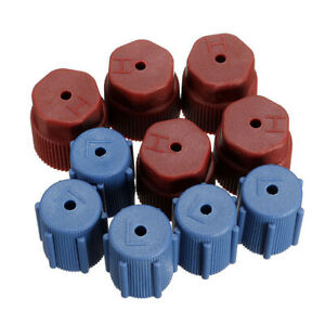 10x AC A/C Charging Port Service Cap R134a 13mm+16mm Red High&Blue Low Side Caps