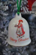 "Holly Hobbie Porcelain Ceramic Bell ""Merry Christmas"" Japan 1982"