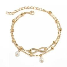 Layer Fully Adjustable Ankle Bracelet Gold Infinity Symbol & Pearl Multi