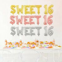 "16"" Sweet Sixteen 16th Foil Balloons Boy and Girl Birthday Balloons Party Decor"