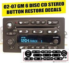 GM 6 Disc Radio Button Repair Decal Sticker Kit Dash 2002-2006 Cadillac Isuzu