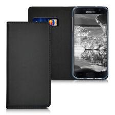 Echtleder Flip Cover Hülle Samsung Galaxy S7 Schwarz Ständer Stand Leder Case