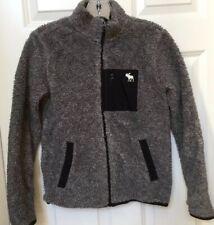 Abercrombie Kids Boys 11/12 Nubby Fleece Flannel Lined Jacket Full Zip Gray