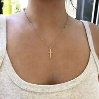 Damen Gold Halskette Kreuz Jesus Cross Anhänger Kreuzkette Goldkette 40+5 cm