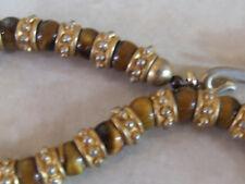 RARO SQUISITA naturale Occhio di tigre perline & oro gancetto di collegamento