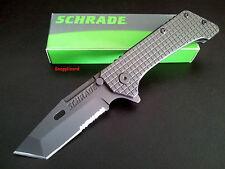 "Schrade 4.9"" H/Duty Combo Edge Frame Lock Tanto SCH302S Folding Pocket Knife"