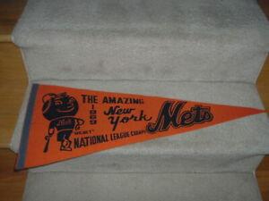 1969 New York Mets National League Champions Orange Pennant Full Size Mr. Met