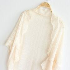 Women Lady Chic Crochet Knit Shawl Bat wing Hollow Out Shrug Cardigan Bolero