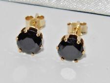 9ct Gold 1.00ct Black Diamond Single Stone Solitaire Stud Earrings