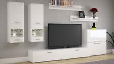 Wohnzimmer Set Wohnwand Set TV Wand COSMO Fronten Weiß Hochglanz