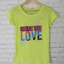 Victorias Secret Pink T Shirt Girls XL Yellow Green Share The Love