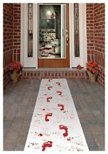 HALLOWEEN BLOODY WHITE CARPET WITH BLOOD FOOTPRINTS RUNNER PARTY DECORATION PROP