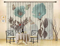 Blue Flower Butterfly 3D Curtain Blockout Photo Printing Curtains Drape Fabric