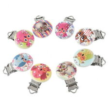 5PCs Mixed Owl Pacifier Clips Round Wooden Colorful Infant Baby Soother