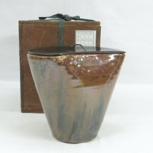 D0507: Japanese really old AGANO pottery water jug with wonderful rare shape