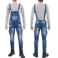 Salopette uomo jeans overall tuta intera denim casual slim fit cotone M218